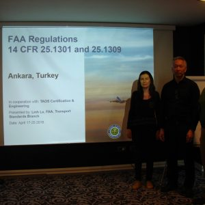 FAA Training in coordination with TAOS. Left to right: Ms. Nazan GÖZAY GÜRBÜZ (Founder, TAOS), Mr. Linh LE (System Safety Program Manager, FAA), Mr. Serdar ERKOCA (President, EV)